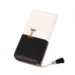 Tvåfärgad plånbok i konstläder